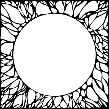 Square frame with chaotic lines and a round space in the middle Illustration