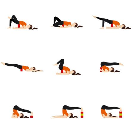 Stylized woman practicing backbend modifications with props Illustration