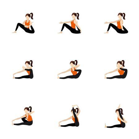 Illustration stylized woman practicing yoga dandasana and akarna dhanurasana modifications