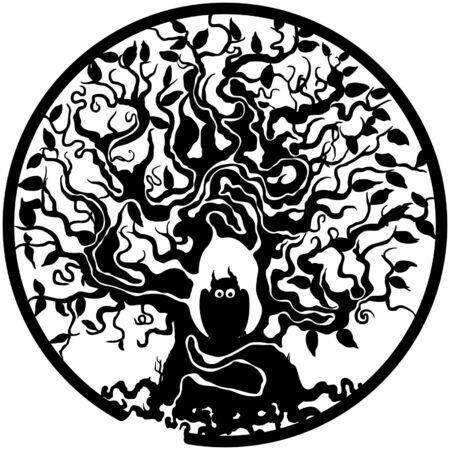 Illustration bizarre decorative labyrinth in a circle