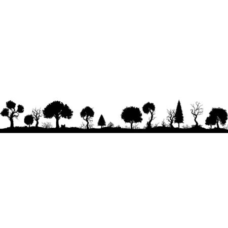 Illustration phantasy bizarre forest silhouette in one row Banque d'images - 148675234