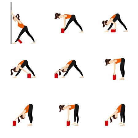 Stylized woman practicing parsvottanasana with a wall and blocks Vectores