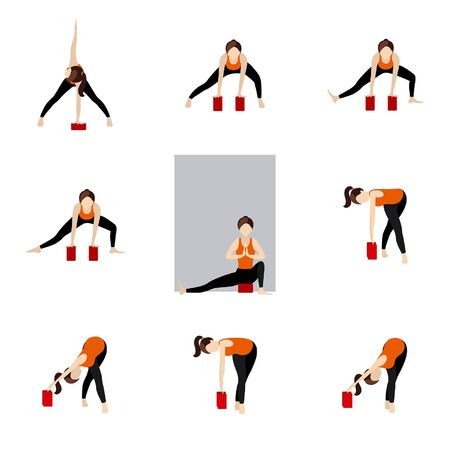 Stylized woman practicing stretching asanas with a wall and blocks