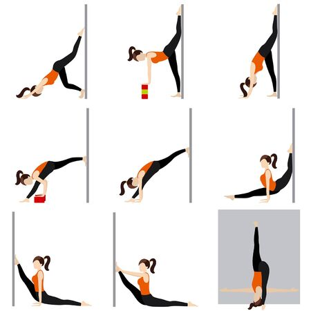 Stylized woman practicing intense stretching with a wall and blocks