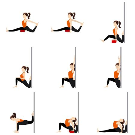Stylized woman practicing intense stretching with props