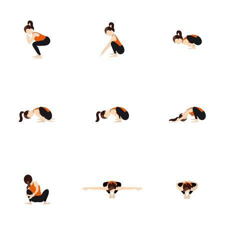 Stylized woman practicing malasana variations