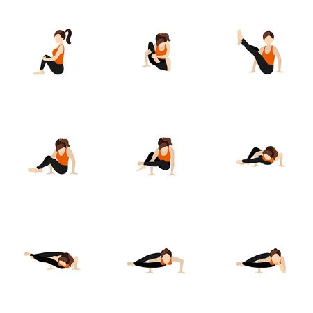 Stylized woman practicing astavakrasana variations