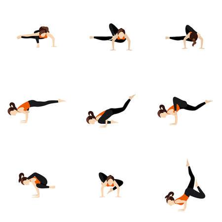 Illustration stylized woman practicing arm balance variations