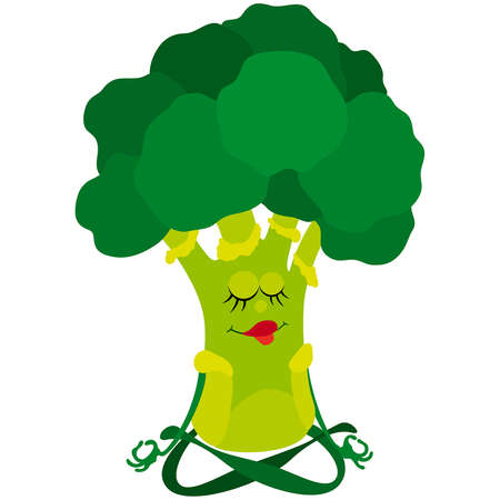 Cartoon broccoli practicing yoga in lotus pose Ilustración de vector