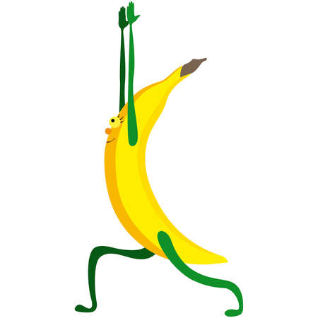 Cartoon banana practicing yoga asana warrior I Ilustracja