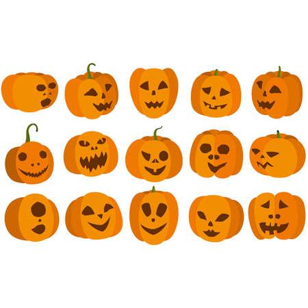 Illustration set with cartoon pumpkin jack-o-lanterns