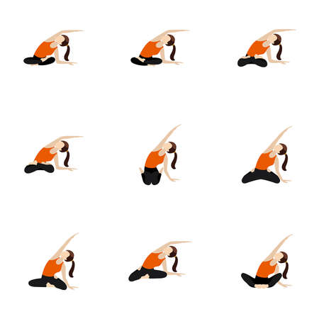 Illustration stylized woman practicing butterfly, lotus and other poses with side bend