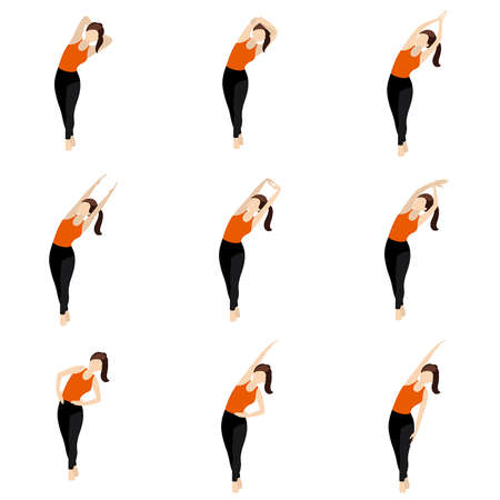 Illustration stylized woman practicing side stretch, legs crossed