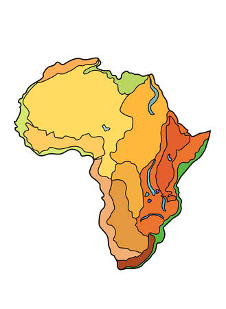 Cartographical image of the surface of the African continent on a white background.