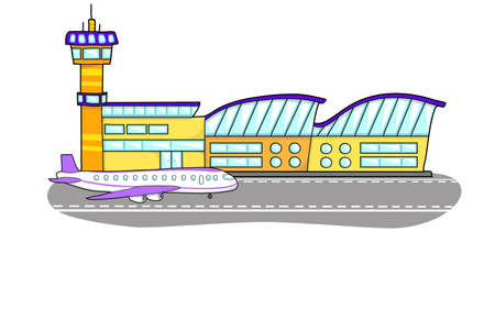 airfield: Airport building. The plane on the runway. Flight control tower.
