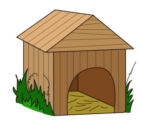 doghouse: The wooden doghouse on a white background.