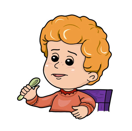 lad: The redhead boy with the spoon in hand on the white background.