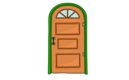 locked: Wooden locked door. Green arch around the door. Illustration