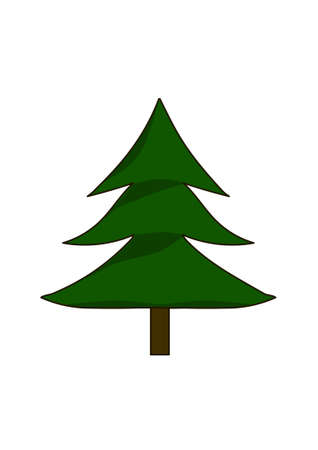 Green shaggy fir-tree on a white background. Illusztráció
