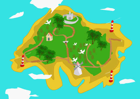 Green island with sandy shores surrounded by blue water. The island is depicted settlements, roads, windmill, castle, trees and boundary markers.