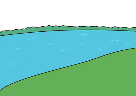 creek: The green coasts. The blue wide river.