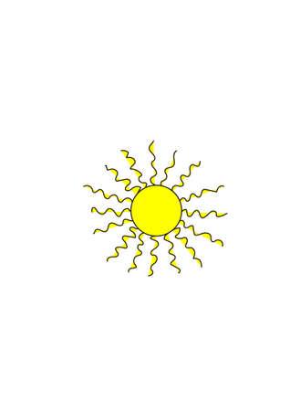 光が白い背景の上の黄色の太陽。