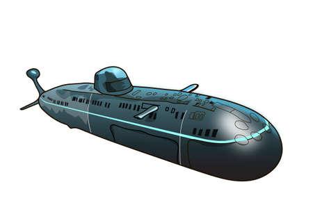 El submarino gris sobre un fondo blanco. Ilustración de vector