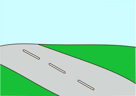アスファルト道路、緑道。