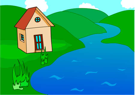 The village house on a riverside. Green hills.