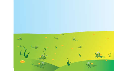 The green field and hills. The sunlight. Illustration