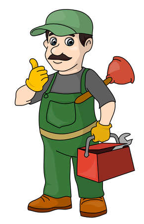 The mustachioed plumber with tools. A locksmith. Illustration