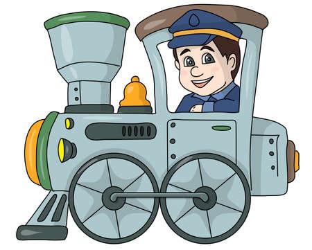 El ferroviario maquinista en una locomotora gris.