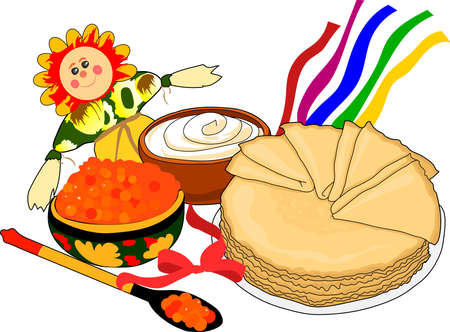 maslenitsa: Maslenitsa. The festive table. Pancakes with caviar.