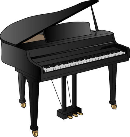 A black piano. A classical music instrument. Black and white keys.