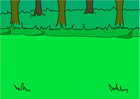 Tall trees on a glade. Green bushes. Grass.