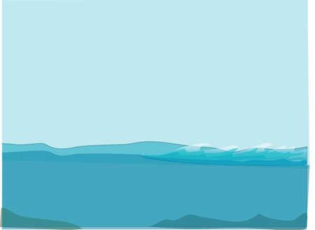sea horizon: blue sea and sky, horizon, waves, depth
