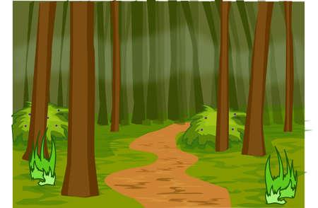 Ein schmaler Pfad in einem dichten Wald.