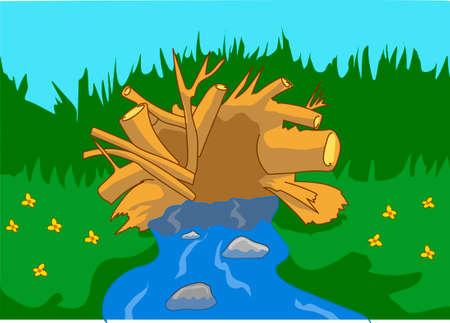 dam beavers, sticks, blue river, green shore