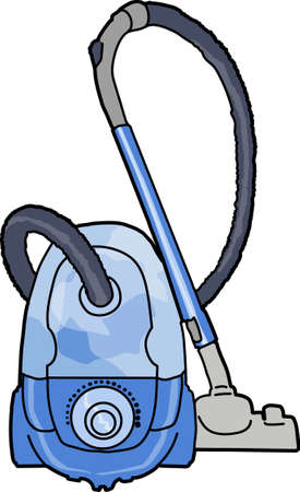 A blue vacuum cleaner on a white background.