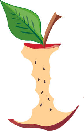 The stump of red apple with a green leaf. Illustration