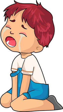 A crying boy in the blue overalls. Illustration