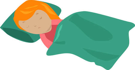 Girl sleeps covered with a green blanket. Illustration