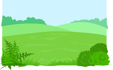 Green glade, hills, bushes, tree, forest, mountains, grass.