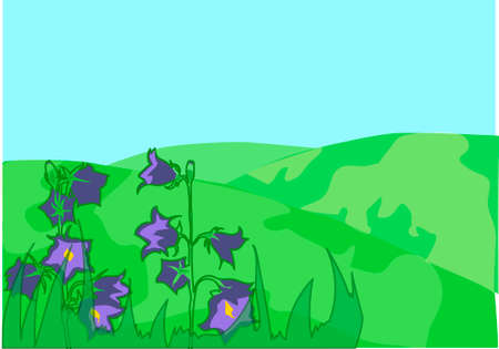 The green meadow with purple bluebells. Illustration