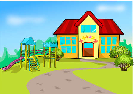 A playground before the school. Multistory building yellow color with red roof.
