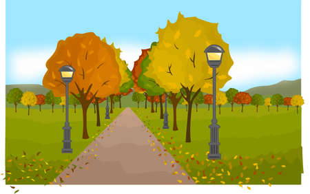 green lantern: The alley in the colorful autumn park. Lanterns.