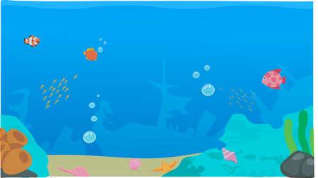 Een onderwater achtergrond, onderzees leven, een zeewier, vissen Stock Illustratie