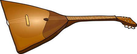The guitarlike musical instrument on a white background. Balalaika.