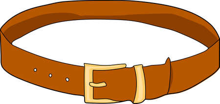 A brown leather belt. Buttoned. A buckle. Illustration
