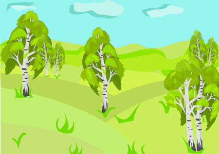 The birch grove. The green glade. Blue sky. Illustration